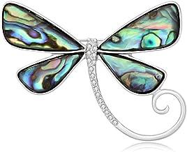 SenFai Dragonfly Abalone Shell Brooch Suit Lapel Pin Eyeglass Holder Wearable Art