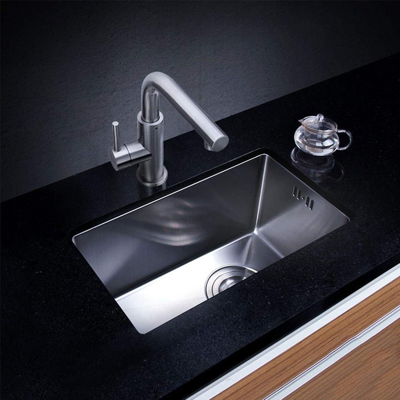 Küchenspülen 43  25cm Eingebettet Extra tief 304 Edelstahl Premium Satin gebürstet Einzel-Tank-Gemüse-Waschbecken 0513