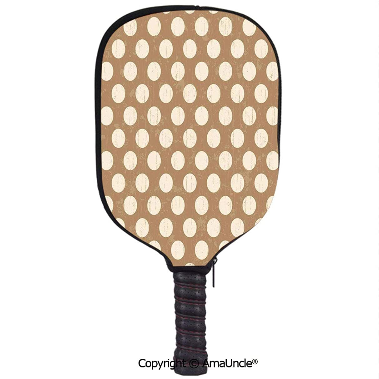 SCOXIXI 3D Pickleball Paddle Racket Cover Case,Kaleidoscopic Flora Pattern Folkloric Circular Round Disk Shapes Doodle Dots DecorativeCustomized Racket Cover with Multi-Colored,Sports Accessories