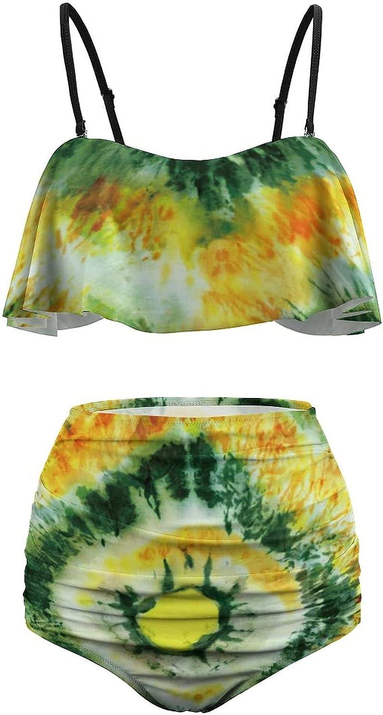AngelSept Women High Waisted Tankini Colorful Tropical and Palm Flounce Bikini Set