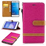 Hülle für Huawei Honor 6X/GR5 2017 Hülle Handyhülle [Standfunktion] [Kartenfach] [Magnetverschluss] Schutzhülle lederhülle flip case für Huawei Honor 6X - DEBF030558 Rosa Rot