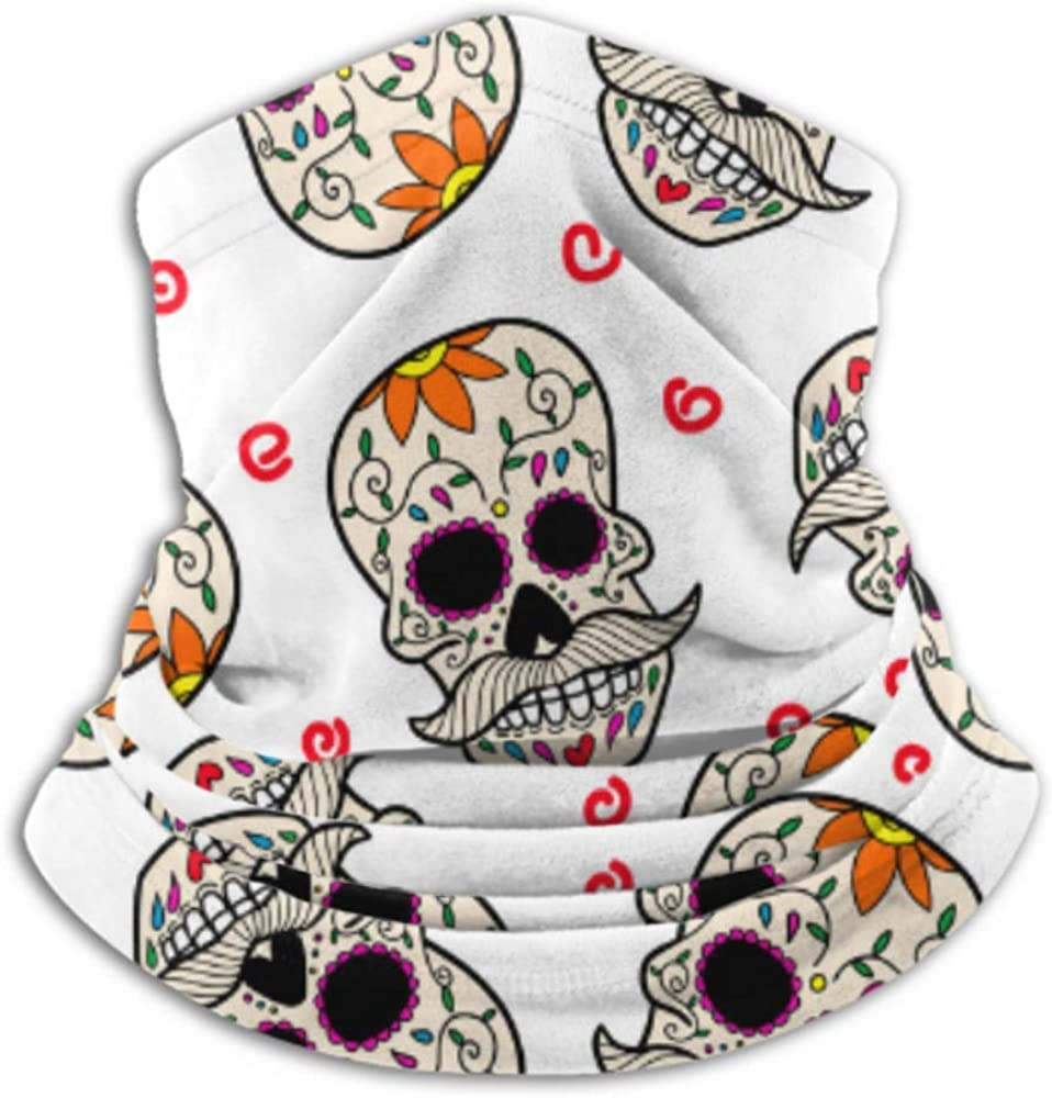 Fleece Neck Warmer ,multifunctional Seamless Pattern With Mexican Sugar Skulls Design Vector Scarf,a Full Face Mask Or Hat, Neck Gaiter, Neck Cap ,s