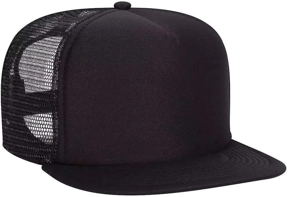 Ashen Fane Polyester Flat Bill Foam Front 5 Panel High Crown Mesh Back Trucker Snapback Hat