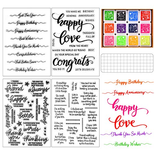 4 Pieces Words Clear Stamp Silicone Stamp with Sentiments, Greeting Words Pattern with Acrylic Stamp Blocks Tool and 12 Colors Ink Pad for Card Making Decoration and DIY Scrapbooking Journaling