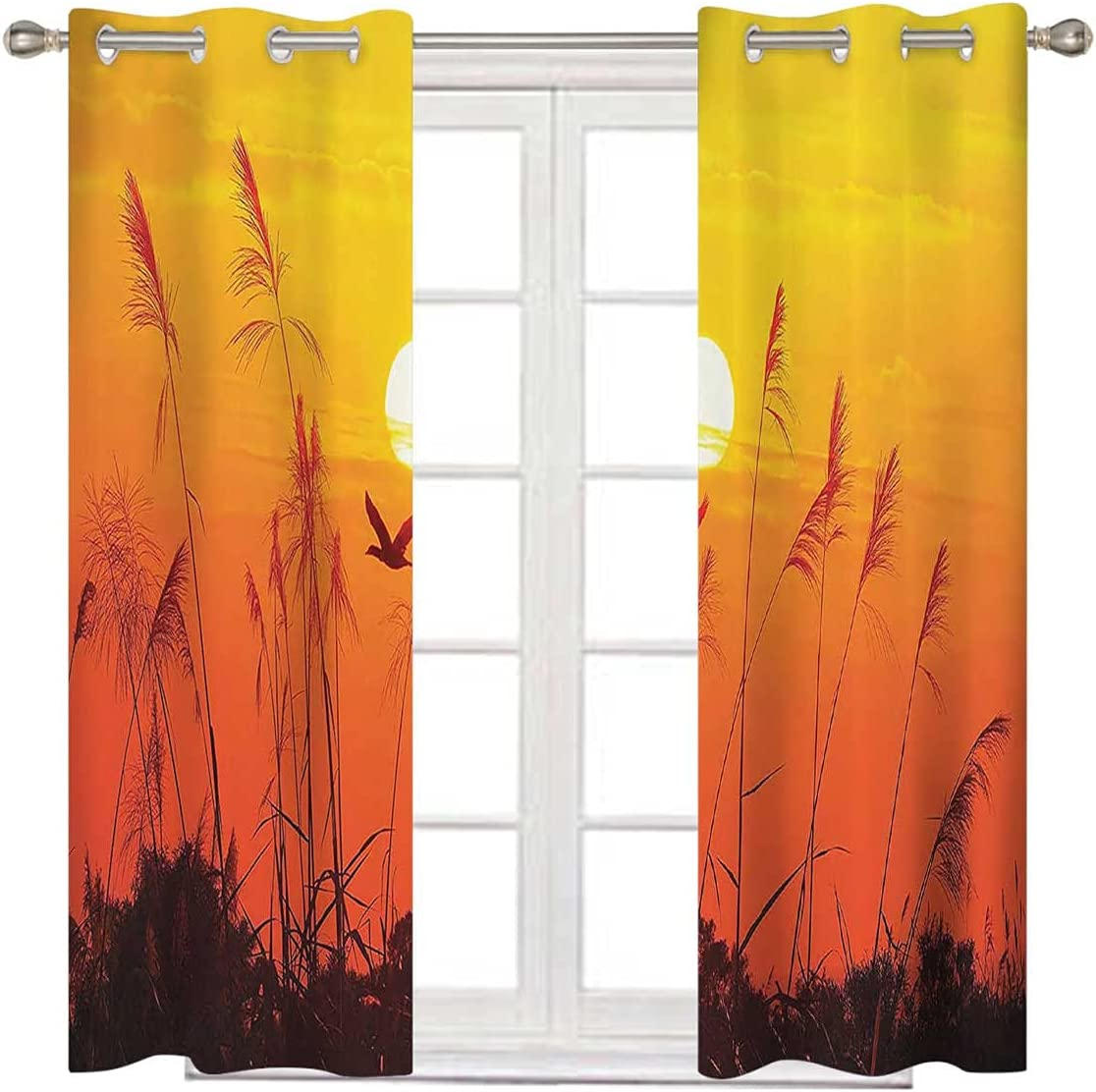 Flying Birds Decor Extra Wide Ranking TOP4 Curtain Red Yellow Panels Challenge the lowest price Pa Drape