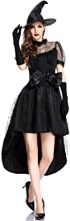 Women Cobweb Witch Dress Halloween Costumes with Witch Hat Cosplay Fancy Outfit
