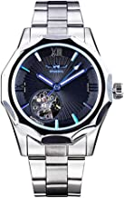 Classic Skeleton Mechanical Large Face Skull Silver Stainless Steel Watch Dress Waterproof Watch for Men