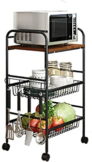 QYQYMJ Microondas 4-Capa de Cocina Pan Rack Horno de microondas Estante Estante Enrollable con cajón Cesta de Alambre E...