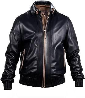 Men's Genuine Lambskin Leather Jacket (Black, Bomber Jacket) - 1501813