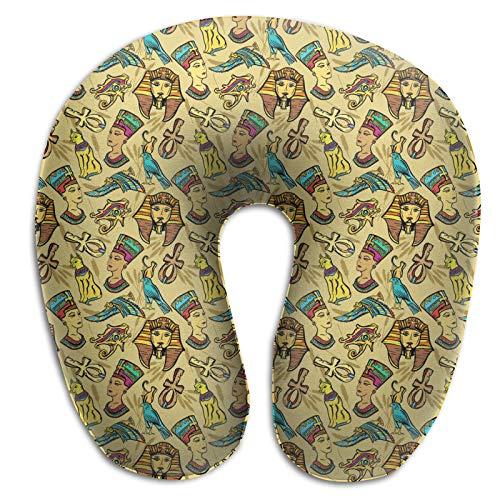 Almohada de viaje de espuma viscoelástica, antigüedad egipcia faraón nefertiti gato ligero almohada de viaje para aviones, casa, coche, viaje