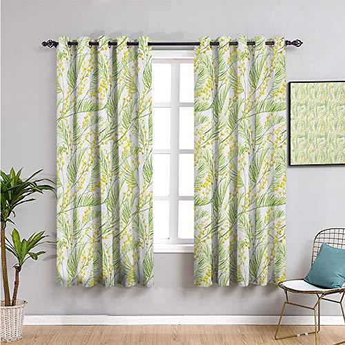 Pcglvie Garden Art Cortina de armario, cortinas de 183 cm de largo acuarela mimosa patrón salvaje flores pincel efecto reducir la luz verde manzana y amarillo W63 x L72 pulgadas