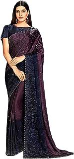 Designer Indian Wine Cocktail Party Swarovski Embellished Saree Blouse Woman Sari 6584