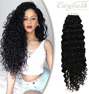 You Shine Wavy Tape In Hair Extensions 22Inch Natural Black Color 50g Per Package Human Hair Glue in Extensions Seamless Skin Weft Hair Extensions
