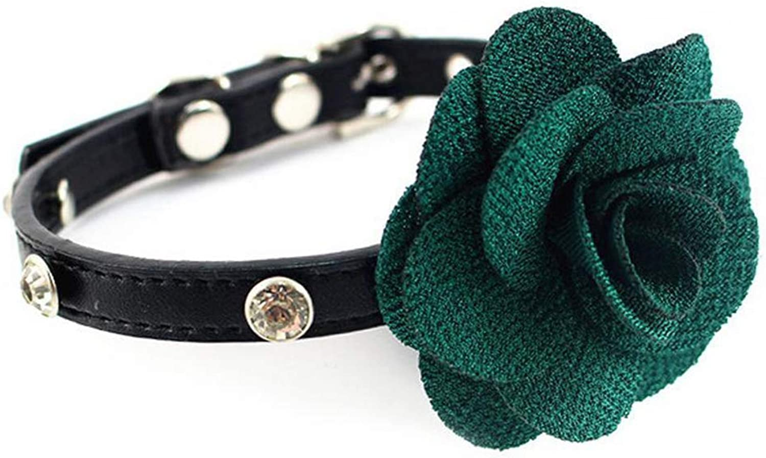 Dixinla Pet Collar Leather Butterfly Knot Dog with Floral Rope Rhinestone Bell Collar