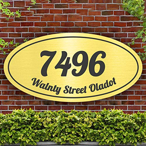 Custom Address Plaque Oval Home Address Sign, Display Your Address and Street Name, House Number, for Hotel, Apartment, Office, Public Facilitiesy and Students Dormitory (12' x 6', Black Gold)