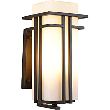 Amazon Com Eeru Outdoor Wall Mounted Light Waterproof Wall Lantern Exterior Light Fixture For Entryways Yards Garage Front Porch Square Metal Frame With Frosted Glass Black Home Improvement