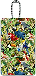 Tropical Birds Parrot Macaw Toucan Pattern Luggage Card Suitcase Carry-On ID Tag