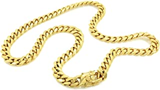 Men's Necklace in 14k Semi-Solid Yellow Gold 8 mm Thick Heavy Miami Cuban Chain