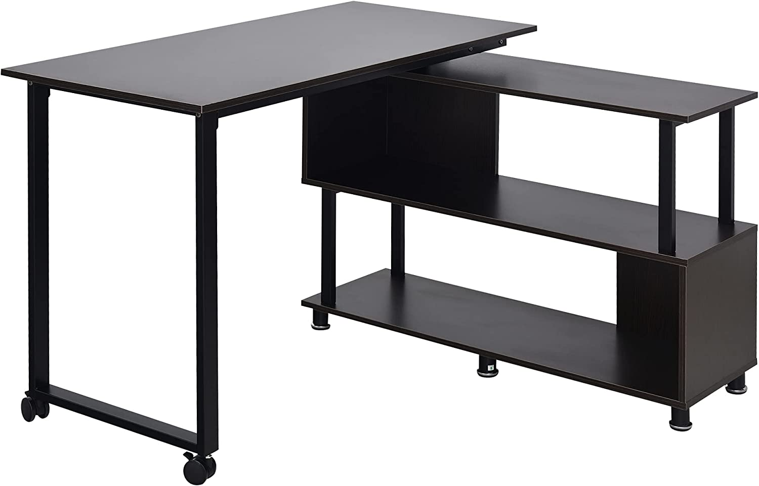 HOMCOM Mobile L-Shaped Rotating Computer Shelv Desk Storage with Louisville-Jefferson County Time sale Mall