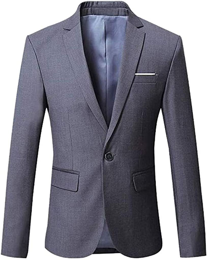 Men's Blazer Slim Fit Casual One Button Long Sleeve Suit for Formal Business Wedding Party Jacket