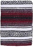 El Paso Designs - Mexican Yoga Blanket - Colorful Falsa Serape - Camping, Picnic, Beach Blanket, Bedding, Car Blanket, Saddle Blanket, Soft Woven Home Decor (Burgundy)