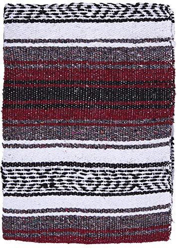 El Paso Designs Original mexikanischen Falsa Decke–Yoga Studio Decke, bunt, gewebte weiche Sarape Importiert aus Mexiko, Burgunderrot