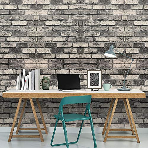 AllRight 53cm x 10M Wallpaper Granite Bricks Brick Slate 3D Effect Grey Brick Wall Paper for Kitchen Bath Bed TV Background Home Decor