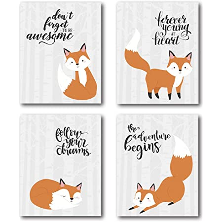 Xuwell Inspirational Quote Stay Clever Little Fox Wall Art Prints Fox Decor For Nursery Kids Bedroom Classroom 8 X 10 Inch Set Of 4 Prints No Frame Posters Prints