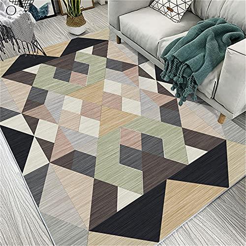 IRCATH Una varietà di Colori, Modelli Geometrici, Moderni divani per Interni di Alta qualità e durevoli, tappeti a pila Corta nella Zona soggiorno-80x120 cm. Bellissimo Tappeto Resistente all'Usura e