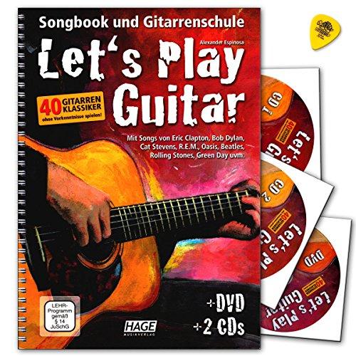 Let's Play Gitar Band 1 met 2 CD's, DVD en Dunlop Plek - Songbook en gitaarschol: gitaar spelen met 40 gitaarklassiekers - Verlag Hage - EH3757 9783866261587