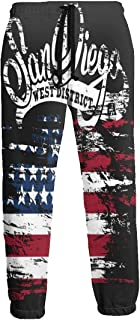 Cyloten Sweatpants American Flag San Diego Men's Trousers Cotton Baggy Sweatpants Novelty Pants for Daily