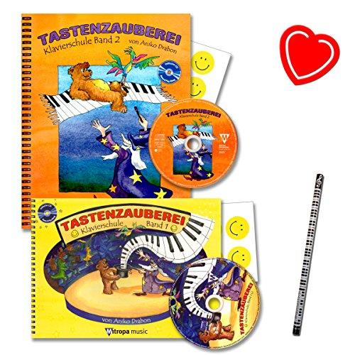 Toetsenbord is een pianoschool van Aniko Drabon voor kinderen en jongeren voor individuele en groepsonderwijs - met 2 cd's, 14 smiley-stickers, met hartvormige bladclip, pianobladstift