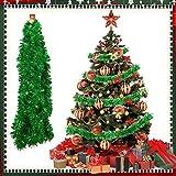 TANCUDER 6m Guirnalda de Oropel de Navidad Brillante Espumillón de Navidad Metálica Guirnaldas de Espumillón de Navidad DIY Grueso Guirnalda Espumillón Decoración para Árbol de Navidad Fiesta (Verde)
