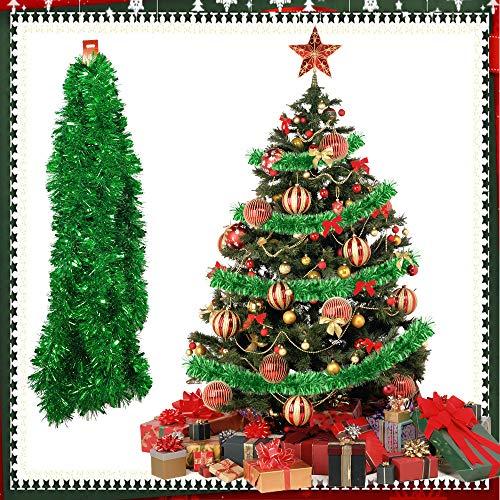 TANCUDER 6m Guirnalda de Oropel de Navidad Brillante Espumillón de Navidad Metálica Guirnaldas de...