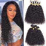 Brazilian Virgin Hair Curly Weave Human Hair Bundles 16' 18' 20' 22' 400g 10A Brazilian Remy Virgin Kinky Curly Hair 3 Bundles 100% Unprocessed Virgin Remy Jerry Curly Human Hair Bundles Natural Color
