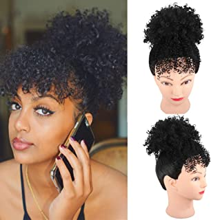 YITI High Puff Afro Ponytail Drawstring with Kinky Curly Bangs Short Afro Kinky Curly Pony Tail Clip in on Synthetic Curly Hair Bun Puff Ponytail Wrap Updo Hair Extensions with Clips(A-BLACK)