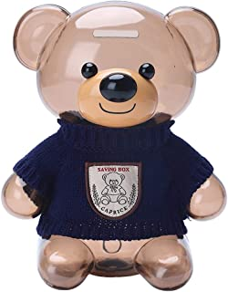 Kids Coin Bank, Bear Clear Plastic Large Capacity Coin Bank with Opening, Money Box Gifts for Kids,Transparent Coin Saving...