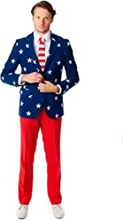 OppoSuits Mens Stars and Stripes Party Costume Suit, Red, 36,38,40,42,44,46,48