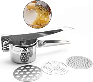 TOONEV Potato Ricer, Stainless Steel Potato Masher with 3 Interchangeable Ricing Discs Easy to Clean