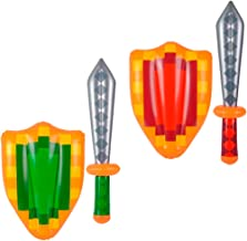 Kicko Inflatable Sword and Shield - Pack of 2 26 Inch Sword and 14x18.5 Inch Shield - Decorative Warrior Inflates Ideal for Party Favors, Party Supplies, Decoration, Pool Parties, theatre Props