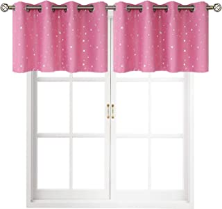 BGment Valance Curtains for Bedroom - Grommet Thermal Insulated Room Darkening Foil Star Patterns Bathroom and Kitchen Blackout Curtains, Set of 2 Panels (52 x 18 Inch, Pink)