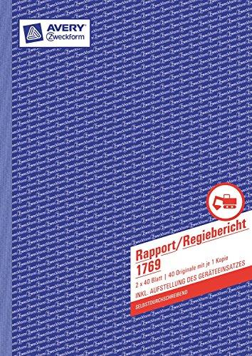 Avery Zweckform© 1769 Rapport/Regiebericht, DIN A4, selbstdurchschreibend, 2 x 40 Blatt, weiá, gelb