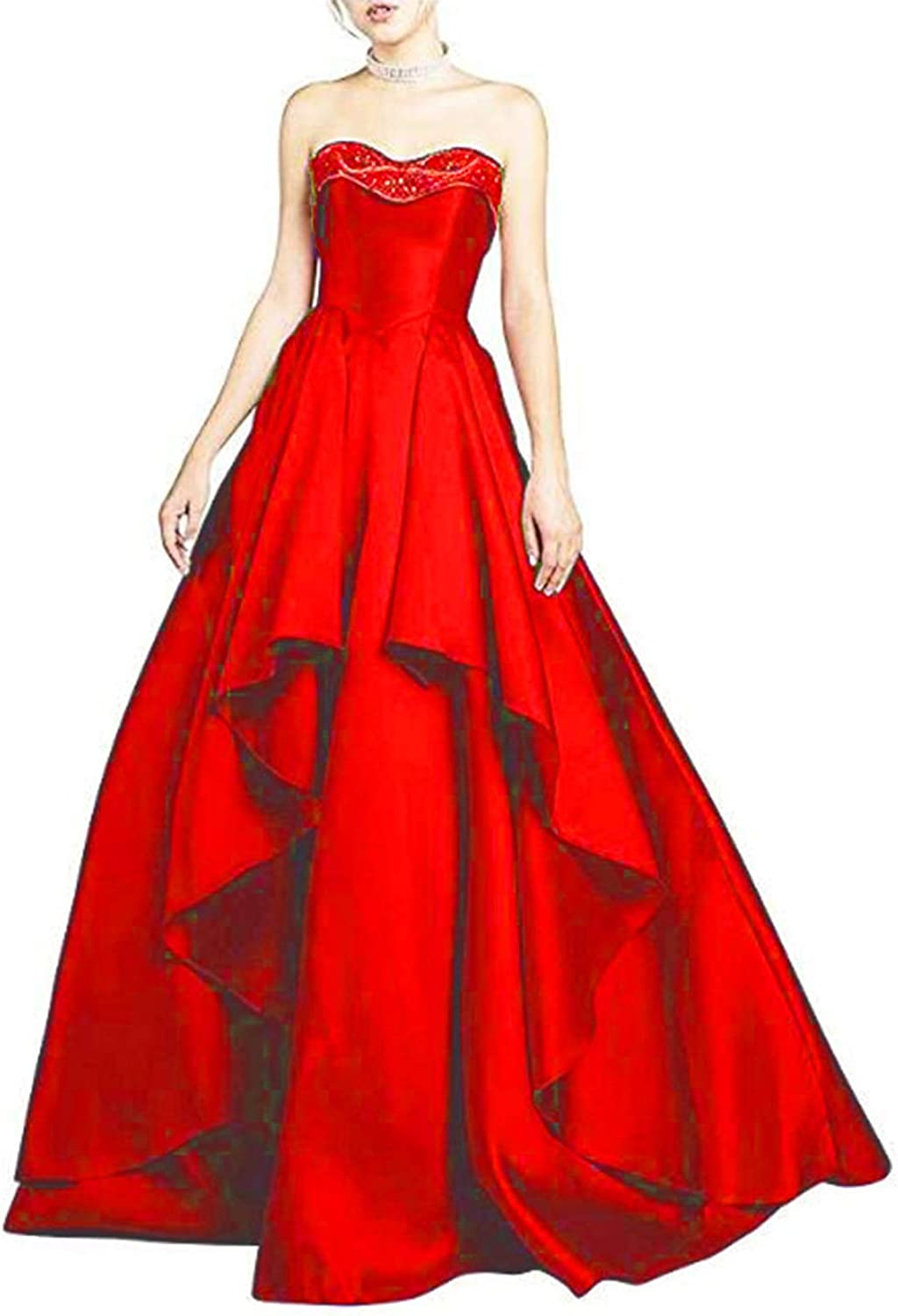 Alilith.Z Sexy Beaded Sweetheart Satin Prom Dresses Ball Gown Formal Evening Dresses Party Gowns for Women