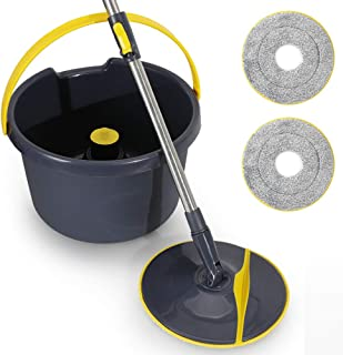YOCADA Microfiber Spin Bucket Mop Floor Cleaning System 2 Microfiber Pad Head Cloth Automatic Rotary Washing System 360°Rotation Extended Handle Hardwood Ceramic Tile Marble Laminate Home Kitchen