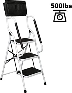 charaHOME 3 Step Ladder Step Stool Folding Portable Ladder Steel Frame with Safety Side Handrails Non-Slip Wide Pedal Kitchen and Home Stepladder with Attachable Tool Bag 500 lb Capacity