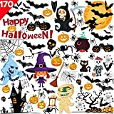 170PCS Halloween Window Clings Decals Dekorationen-10 Blatt Kürbis Spinne Fledermaus Ghost Witch...
