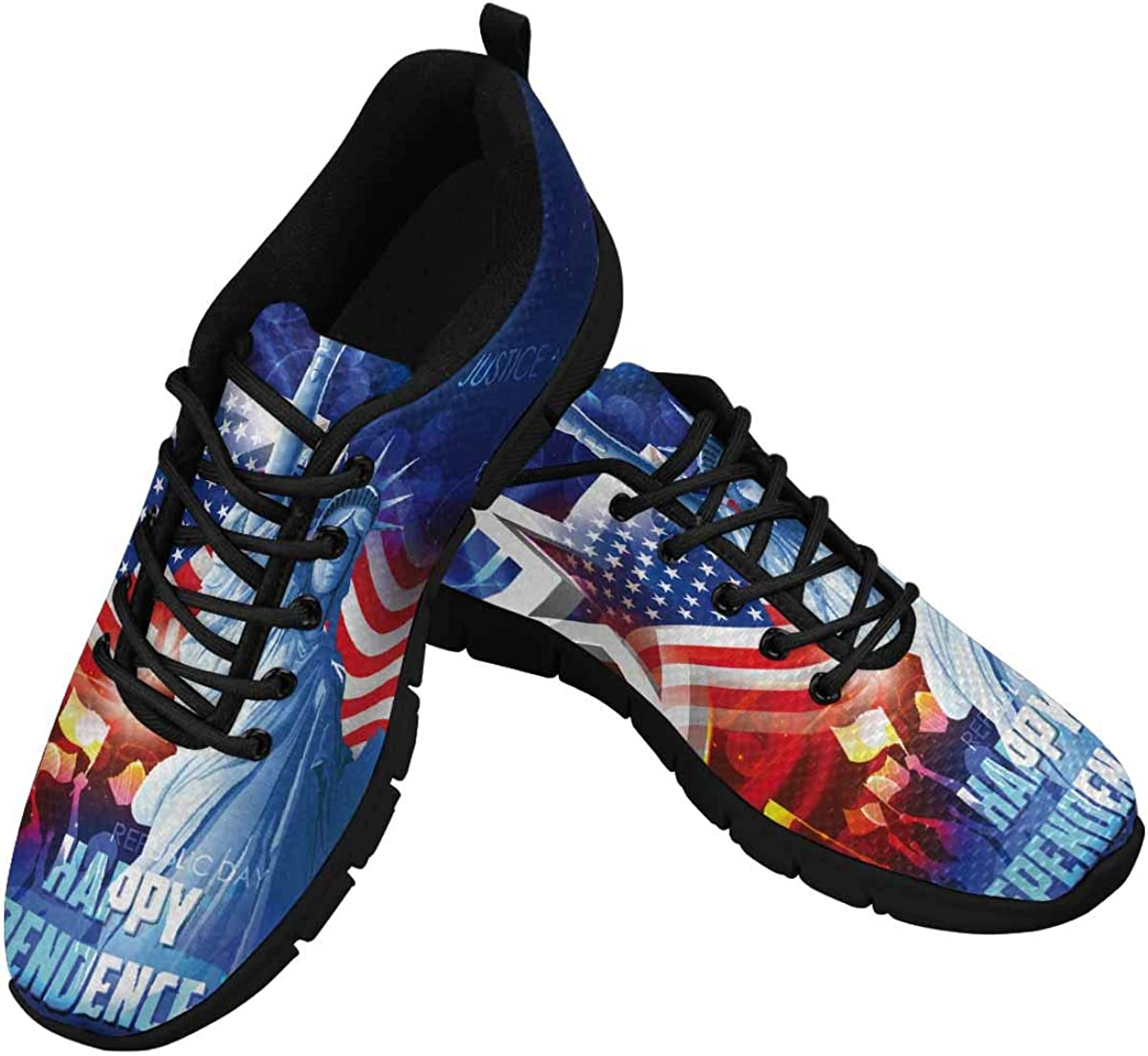 INTERESTPRINT Statue of Liberty and American Flag Women's Athletic Mesh Breathable Casual Sneakers