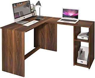 MEUBLE COSY d'ordinateur avec étagère de Rangement, Table de Bureau à Domicile Station de Travail en Bois, Noyer, 120x100x...