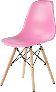 【北欧モダン椅子 人気な木脚】 イームズチェア 世界で人気なオフィス椅子 木製 おしゃれ ダイニング チェア 軽量 (ピンク)
