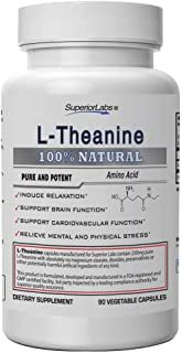 Superior Labs Pure L-Theanine Non GMO, No Additives - 250mg, 90 Vegetable Capsules - Powerful Formula for Healthy Sleep, M...